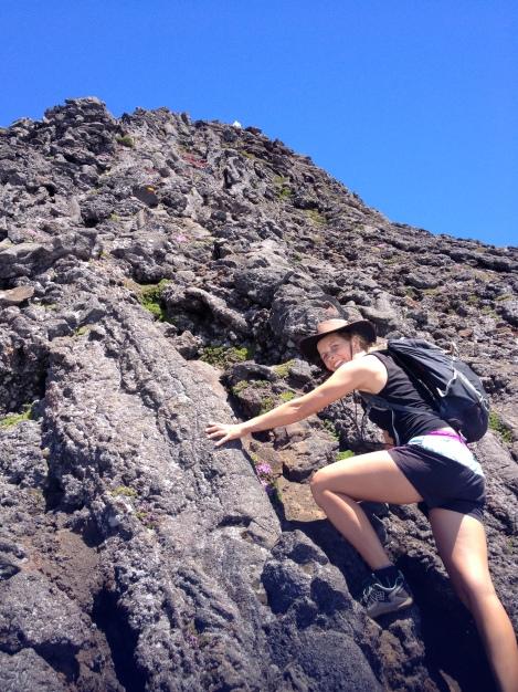 Scrambling up the volcano